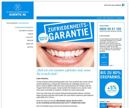 Zahnersatz: Bis zu 80 % sparen mit der Audentic AG